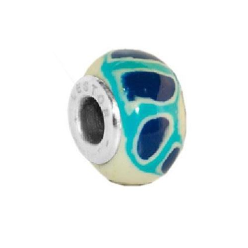 Picture of BEAD ACERO 316 L Y POTTERY MANCHAS AZUL