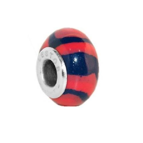 Picture of BEAD ACERO 316 L Y POTTERY AZUL RAYAS FUCSIA